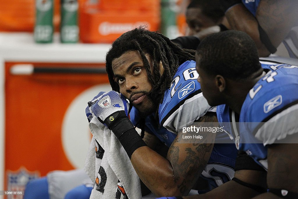 Louis Delmas #26 of the Detroit Lions looks on during the Lions overtime loss to the New York Jets at Ford Field on November 7, 2010 in Detroit, Michigan. The Jets defeated the Lions 23-20 in overtime.