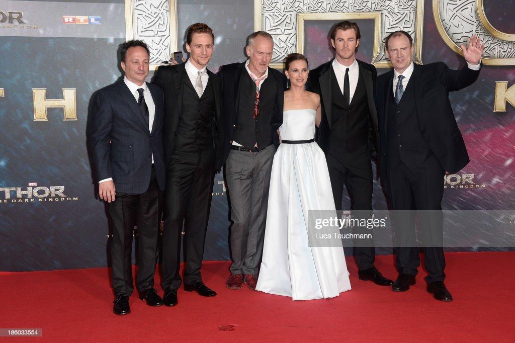Louis d'Esposito, Tom Hiddlšeston, Alan Taylor, Natalie Portman, Chris Hemsworth and Kevin Feige arrive for