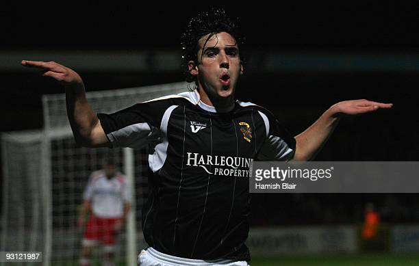 Louis Dodds of Port Vale celebrates after scoring his team's first goal during the FA Cup sponsored by EON 1st Round Replay match between Stevenage...