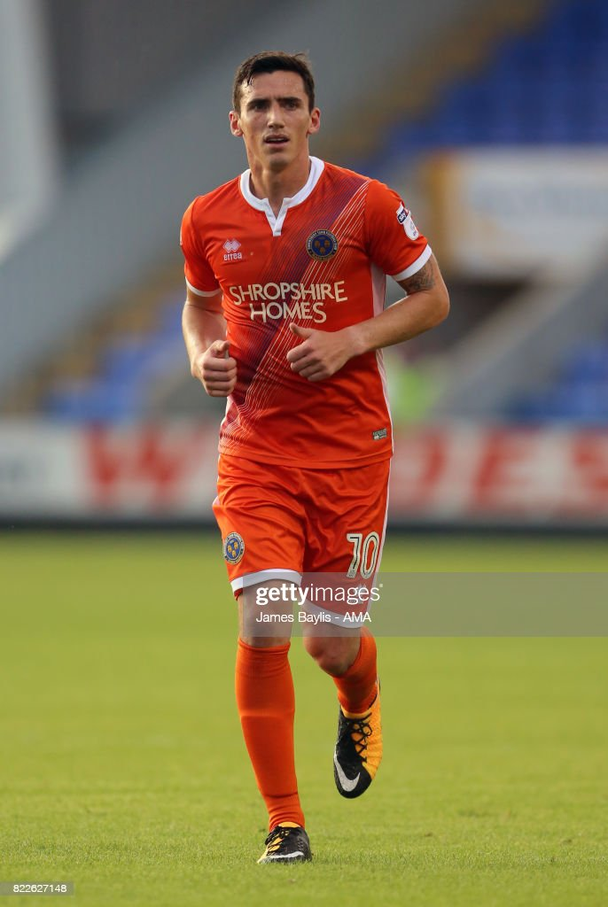 Louis Dodds of Shrewsbury Town during the pre-season friendly between Shrewsbury Town and Cardiff City at The Montgomery Waters Meadow on July 25, 2017 in Shrewsbury, England.