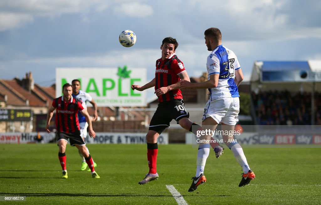 Louis Dodds of Shrewsbury Town in action during the Sky Bet League One match between Bristol Rovers and Shrewsbury Town at Memorial Stadium on April 1, 2017 in Bristol, England.