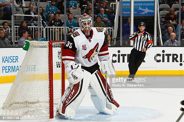 Louis Domingue of the Arizona Coyotes defends the net against the San Jose Sharks at SAP Center on September 30 2016 in San Jose California