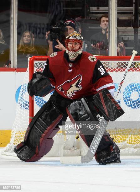 Louis Domingue of the Arizona Coyotes gets ready to make a save against the Chicago Blackhawks at Gila River Arena on October 21 2017 in Glendale...