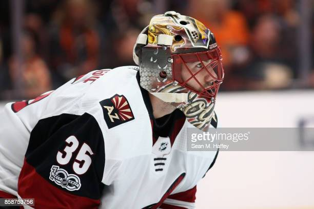 Louis Domingue of the Arizona Coyotes looks on during the third period of a game against the Anaheim Ducks at Honda Center on October 5 2017 in...