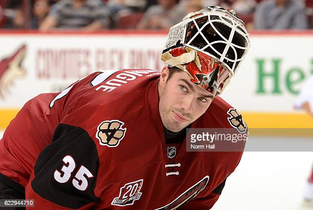 Louis Domingue of the Arizona Coyotes looks to the bench during a stop in play against the Winnipeg Jets at Gila River Arena on November 10 2016 in...