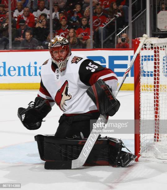 Louis Domingue of the Arizona Coyotes skates against the New Jersey Devils at the Prudential Center on October 28 2017 in Newark New Jersey The...