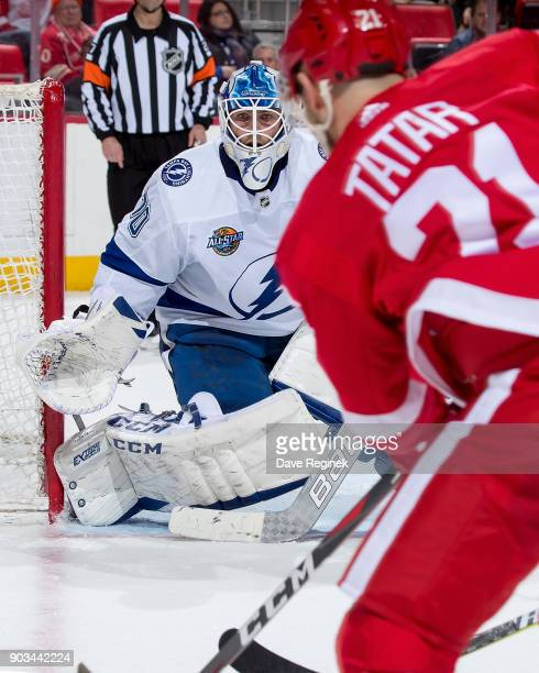 Louis Domingue of the Tampa Bay Lightning defends the net against the Detroit Red Wings during an NHL game at Little Caesars Arena on January 7 2017...