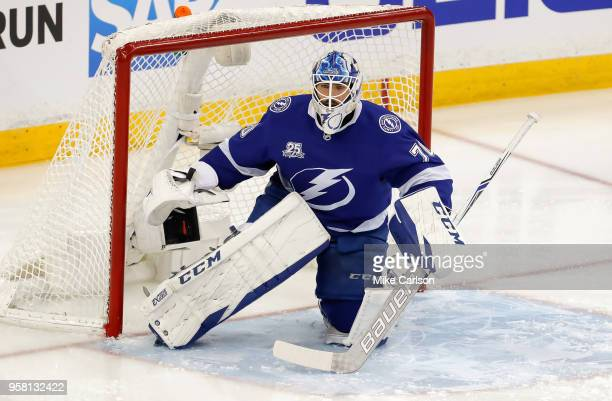 Louis Domingue of the Tampa Bay Lightning in net against the Washington Capitals during the third period in Game One of the Eastern Conference Finals...