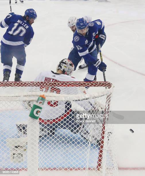 Louis Domingue of the Tampa Bay Lightning makes the save on Steven Stamkos of the Tampa Bay Lightning in Game Two of the Eastern Conference Finals...