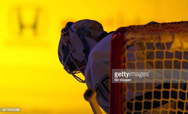 Louis Domingue of the Tampa Bay Lightning stands in net before an NHL game on February 13 2018 at KeyBank Center in Buffalo New York