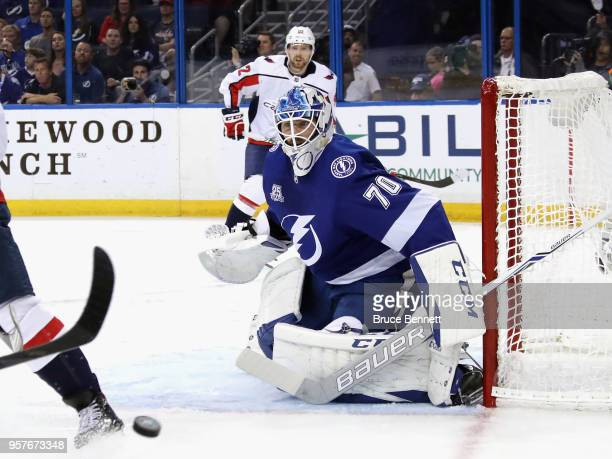 Louis Domingue of the Tampa Bay Lightning tends net against the Washington Capitals in Game One of the Eastern Conference Finals during the 2018 NHL...