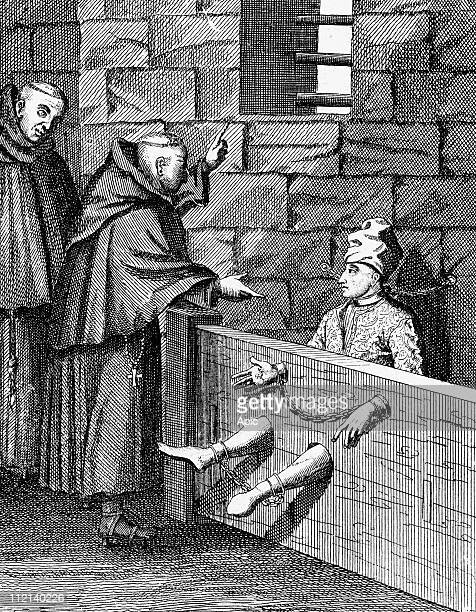 Louis Dominique Garthausen alias Cartouche French bandit here he is in prison engraving