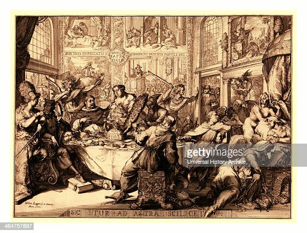 Louis D'or Au Soleil En Sanguine Engraving 1705 Louis Xiv Sitting Next To A Table Head Resting On His Left Elbow Which Rests On His Left Knee He Is...