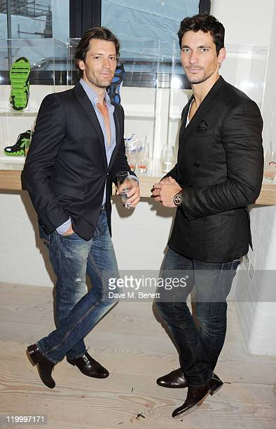 Louis Dowler and David Gandy attend a private view of works by five leading artists who have created pieces inspired by Reebok's Zig Tech technology...