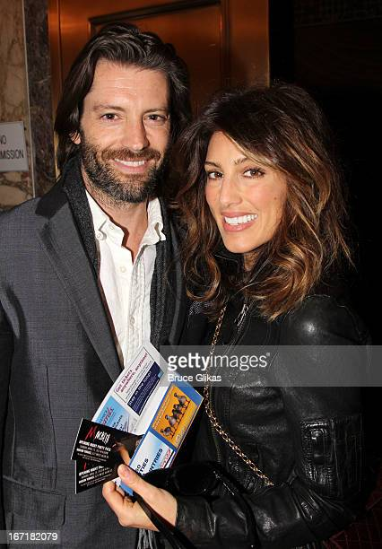 Louis Dowler and girlfriend Jennifer Esposito attend the Broadway opening night of Macbeth at The Ethel Barrymore Theatre on April 21 2013 in New...