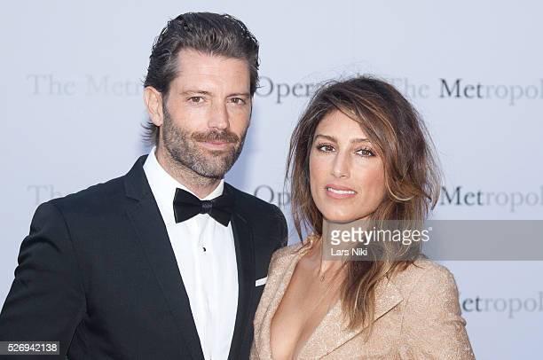 Louis Dowler and Jennifer Esposito attend the Metropolitan Opera 20142015 season opening of The Marriage of Figaro at The Metropolitan Opera House in...