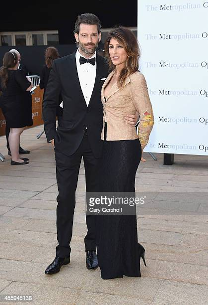 Louis Dowler and Jennifer Esposito attend the season opening of The Marriage of Figaro at The Metropolitan Opera House on September 22 2014 in New...