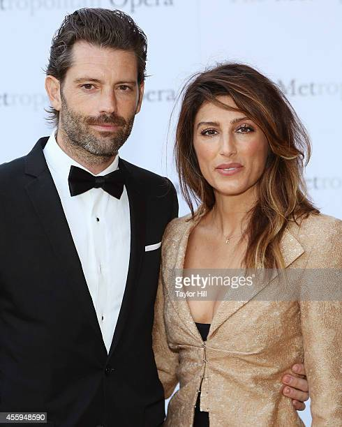 Louis Dowler and Jennifer Esposito attend the season opening performace of The Marriage of Figaro at The Metropolitan Opera House on September 22...