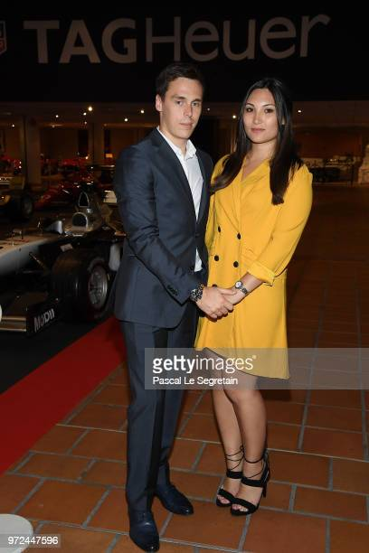 Louis Ducruet and his fiancee Marie Chevallier pose during a visit to the Car Collection of Prince Albert of Monaco and inaugurate the renovated map...