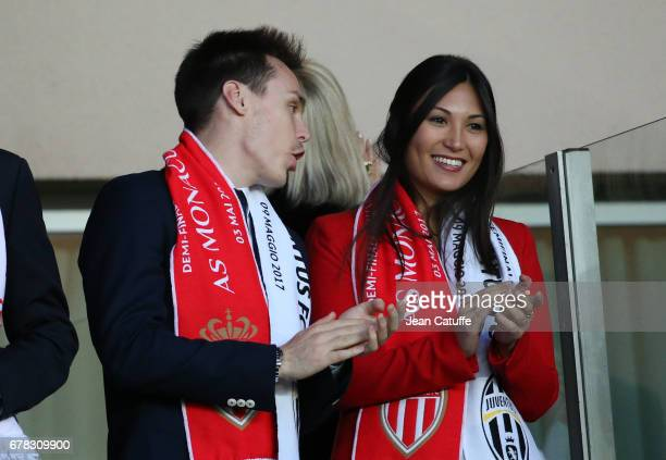 Louis Ducruet and Marie Chevalier attend the UEFA Champions League semi final first leg match between AS Monaco and Juventus Turin at Stade Louis II...