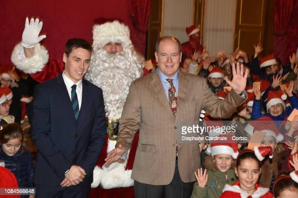 Louis Ducruet and Prince Albert II of Monaco attend the Christmas Gifts Distribution on December 19, 2018 in Monte-Carlo, Monaco.