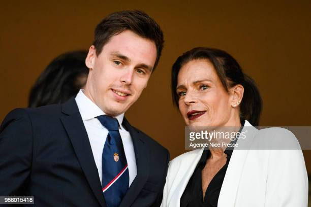 Louis Ducruet and Princess Stephanie of Monaco during the Ligue 1 match between AS Monaco and AS Saint-Etienne at Stade Louis II on May 12, 2018 in...