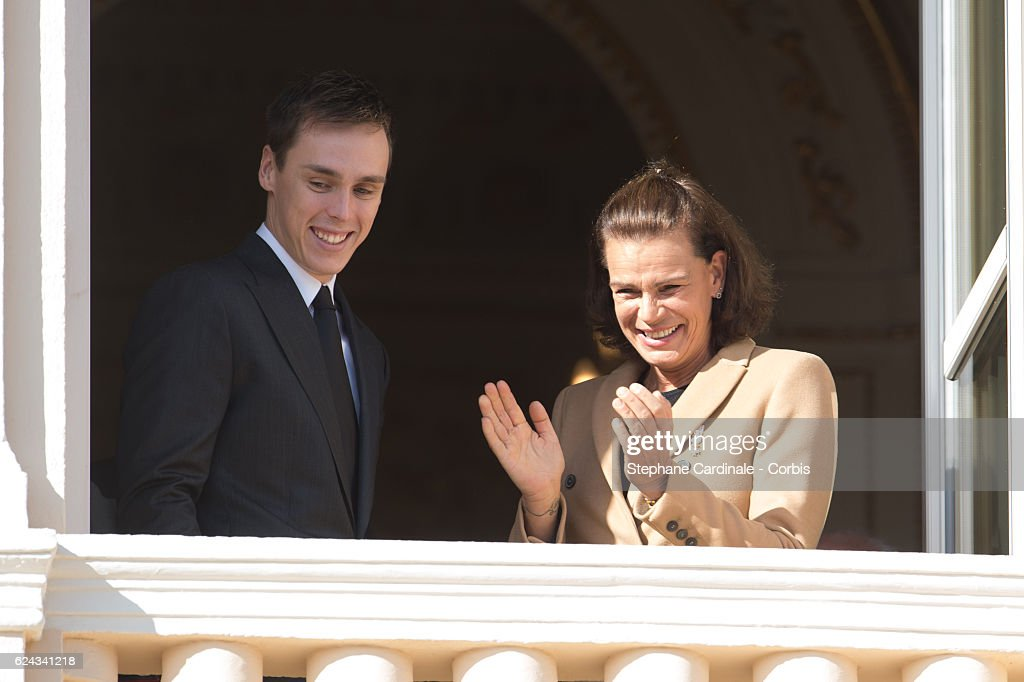 Louis Ducruet and princess Stephanie of Monaco greet the crowd from the palace's balcony during the Monaco National Day Celebrations on November 19, 2016 in Monaco, Monaco.