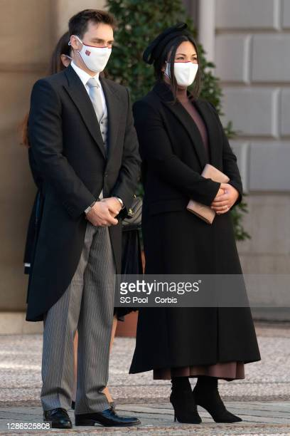 Louis Ducruet and wife Marie Chevallier attend the celebrations marking Monaco's National Day at the Monaco Palace, on November 19, 2020 in...