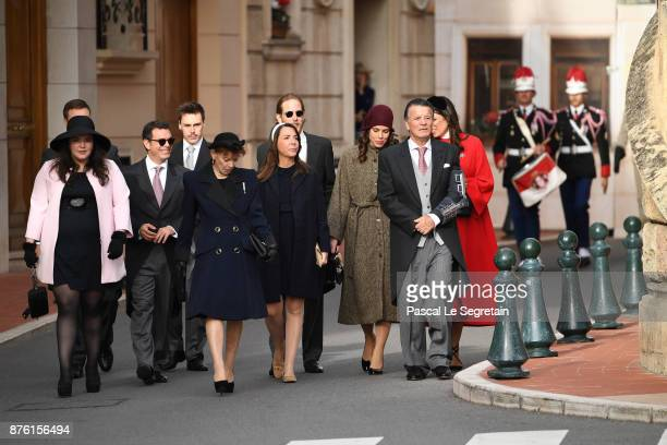 Louis Ducruet Andrea Casiraghi Charlotte Casiraghi and Tatiana Casiraghi arrive at the Cathedral of Monaco before a mass during the Monaco National...