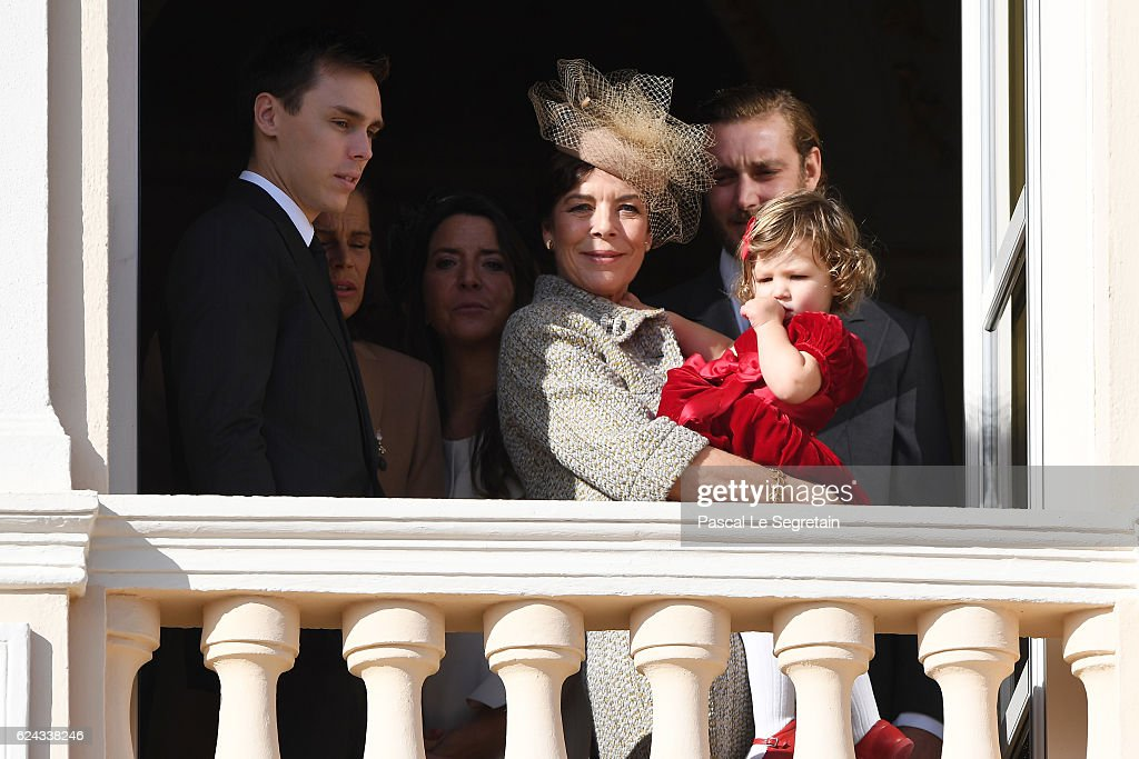 Louis Ducruet, Princess Caroline of Hanover and India Casiraghi greet the crowd from the palace's balcony during the Monaco National Day Celebrations on November 19, 2016 in Monaco, Monaco.