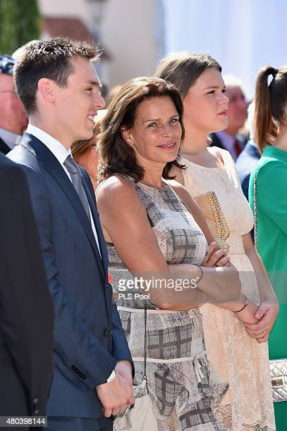 Louis Ducruet, Princess Stephanie of Monaco and Camille Gottlieb attend the First Day of the 10th Anniversary on the Throne Celebrations on July 11,...