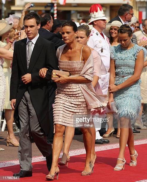 Louis Ducruet, Princess Stephanie of Monaco and Pauline Ducruet attend the religious ceremony of the Royal Wedding of Prince Albert II of Monaco to...