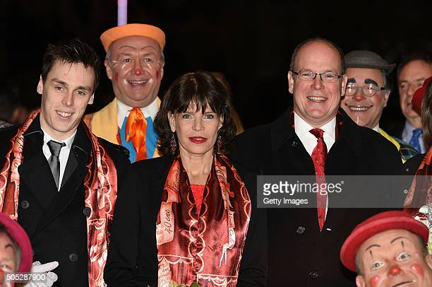 Louis Ducruet, Princess Stephanie of Monaco and Prince Albert II of Monaco attend the 40th International Circus Festival on January 16, 2016 in...