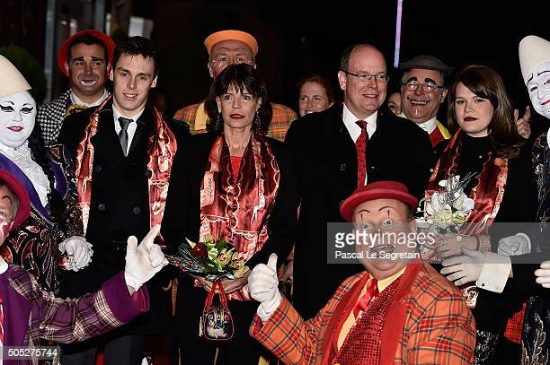 Louis Ducruet, Princess Stephanie of Monaco, Prince Albert II of Monaco and Camille Gottlieb attend the 40th International Circus Festival on January...