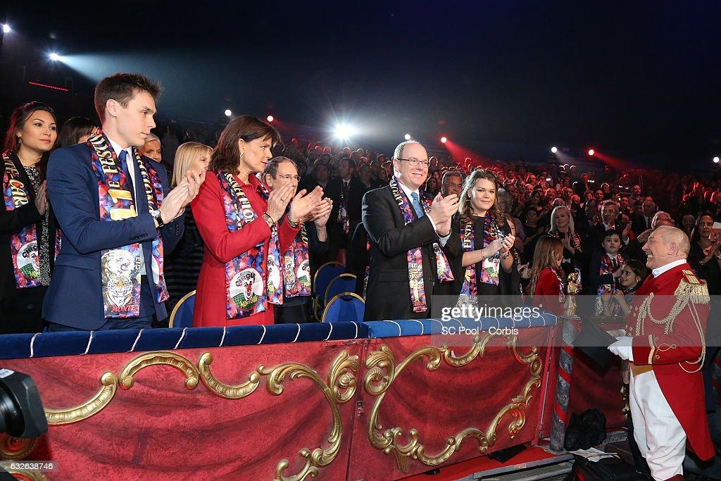 Louis Ducruet, Princess Stephanie of Monaco, Prince Albert II of Monaco and Camille Gottlieb attend the 41st Monte-Carlo International Circus Festival on January 24, 2017 in Monte-Carlo, Monaco.