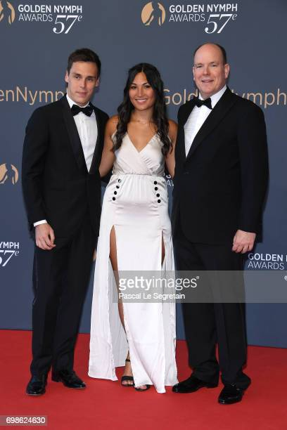 Louis Ducruet with girlfriend Marie and Prince Albert II of Monaco attend the Closing ceremony of the 57th Monte Carlo TV Festival on June 20 2017 in...