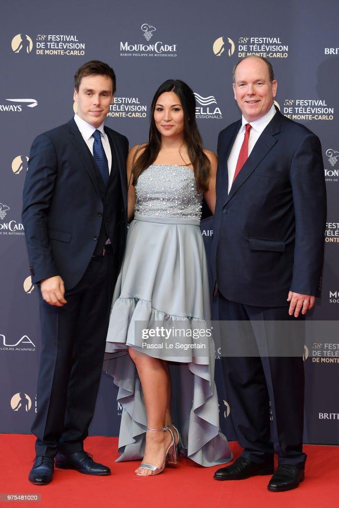 Louis Ducruet,Marie Chevallier and Prince Albert II of Monaco attend the opening ceremony of the 58th Monte Carlo TV Festival on June 15, 2018 in Monte-Carlo, Monaco.