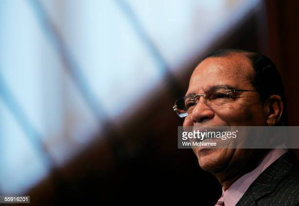 Louis Farrakhan national representative to the Nation of Islam answers a question during a press conference at the National Press Club October 13...