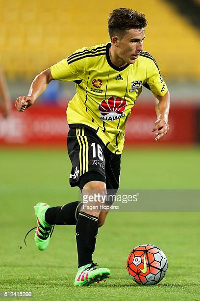 Louis Fenton of the Phoenix in action during the round 21 ALeague match between the Wellington Phoenix and Melbourne City FC at Westpac Stadium on...