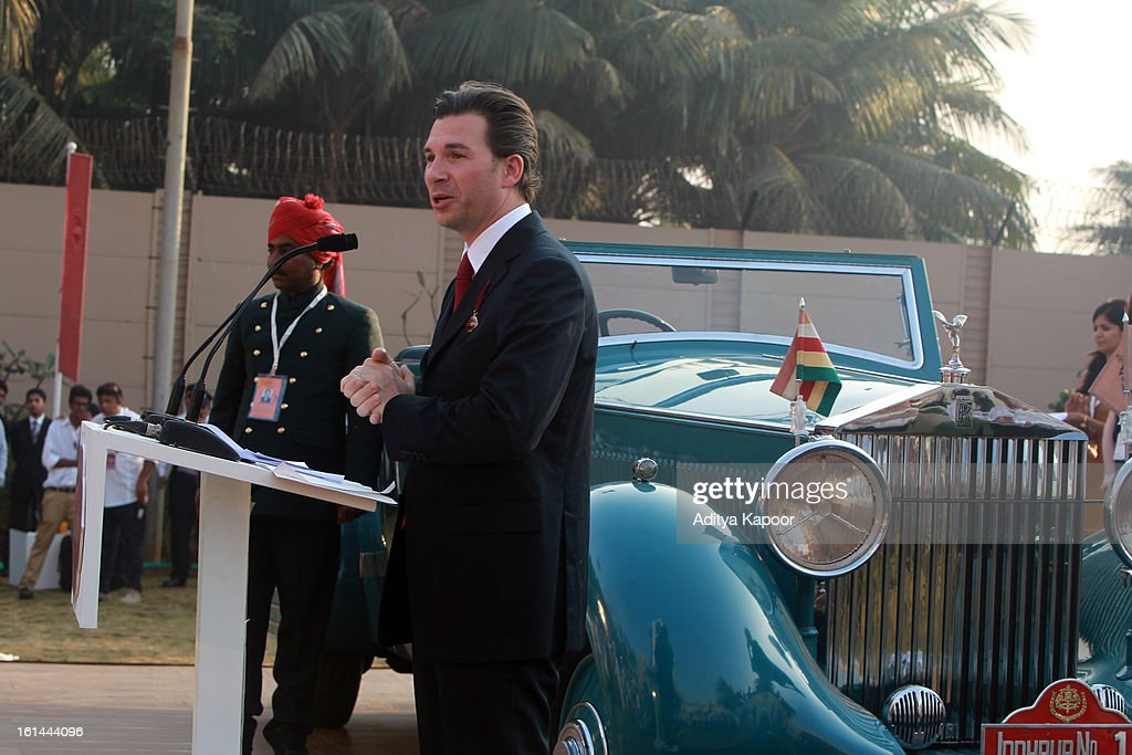 Louis Ferla, Cartier regional Director for the Middle East, Africa & India, addresses the guests during the Cartier 'Travel With Style' Concours 2013 at Taj Lands End on February 10, 2013 in Mumbai, India.