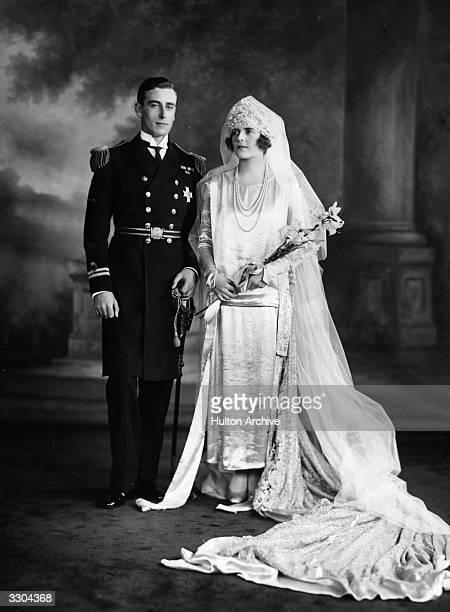 Louis Francis Victor Albert Nicholas Ist Earl Mountbatten Of Burma on his wedding day to Edwina Cynthia Annette Ashley
