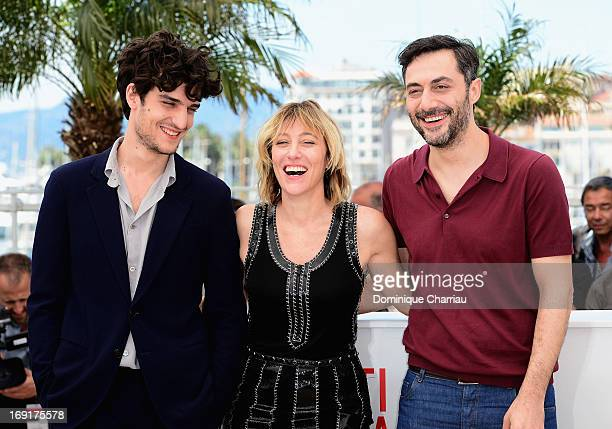 Louis Garrel Director Valeria Bruni Tedeschi and Filippo Timi attend the photocall for 'Un Chateau En Italie' during The 66th Annual Cannes Film...