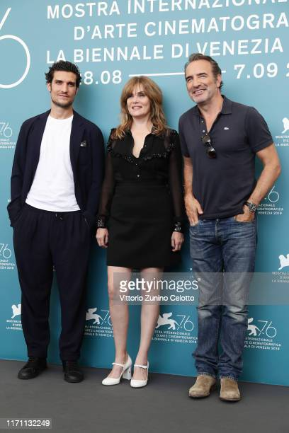 Louis Garrel Emmanuelle Seigner and Jean Dujardin attend J'Accuse photocall during the 76th Venice Film Festival at Sala Grande on August 30 2019 in...