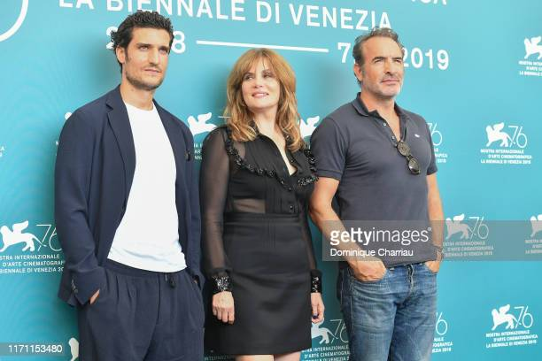 Louis Garrel Emmanuelle Seigner and Jean Dujardin attends J'Accuse photocall during the 76th Venice Film Festival at Sala Grande on August 30 2019 in...