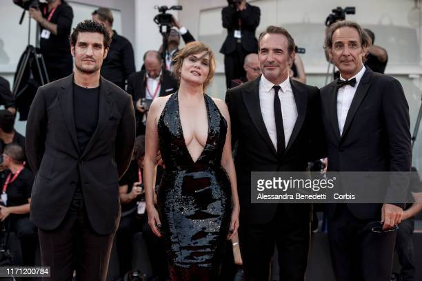 Louis Garrel Emmanuelle Seigner Jean Dujardin and Alexandre Desplat walk the red carpet ahead of the J'Accuse screening during the 76th Venice Film...
