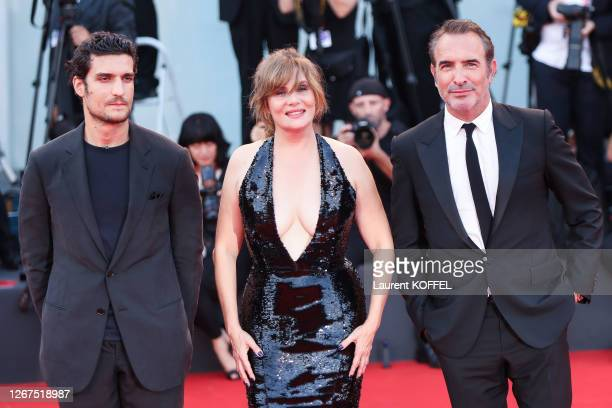 """Louis Garrel, Emmanuelle Seignier and Jean Dujardin walk the red carpet ahead of the """"J'Accuse"""" screening during the 76th Venice Film Festival at..."""