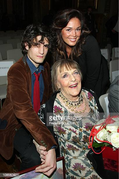 Louis Garrel Lola Patrick Dewaere's daughter and Mado Maurin Patrick Dewaere's mother in Paris France on April 21 2009