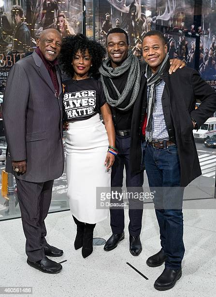 Louis Gossett Jr, Aunjanue Ellis, Lyriq Bent, and Cuba Gooding Jr visit 'Extra' at their New York studios at H&M in Times Square on December 16, 2014...
