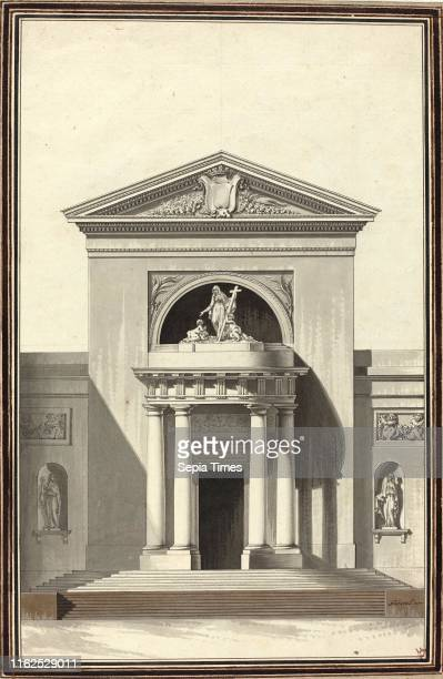 Louis Gustave Taraval French Facade for a Church with a Sculpture Representing Faith c 1768 pen and gray ink with gray and brown washes over black...
