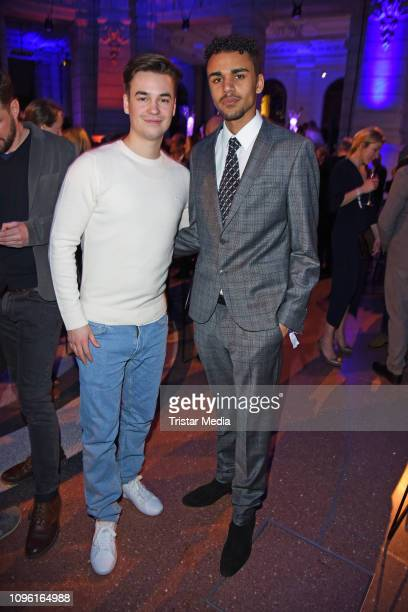 Louis Held and Langston Uibel during the Blue Hour Party hosted by ARD during the 69th Berlinale International Film Festival at Haus der...
